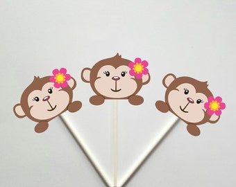 Girl Monkey Cupcake Toppers, Girl Monkey Baby Shower, Girl Monkey Birthday, Monkey Peeking