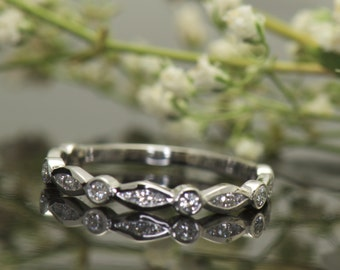 Marquise and Dot Wedding Band in White Gold, Channel and Bezel Set Stones, 3/4 Eternity, Stackable, Alisha B