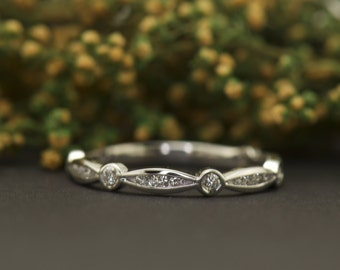 Alisha - Diamond Wedding Band in White Gold, Round Brilliant Cut, Marquise and Dot Design with Channel and Bezel Set Stones, Free Shipping