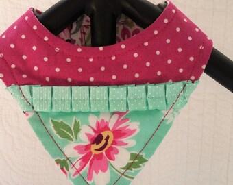 Bandana Pink and aqua Floral Size Small  **Reversible**Dog bandana**Custom**