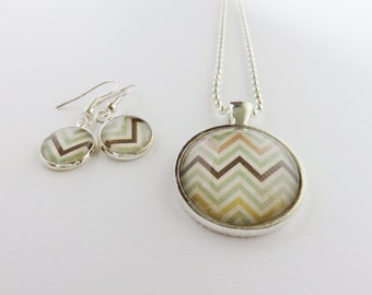 Chevron pattern silver plated necklace & earring jewellery set
