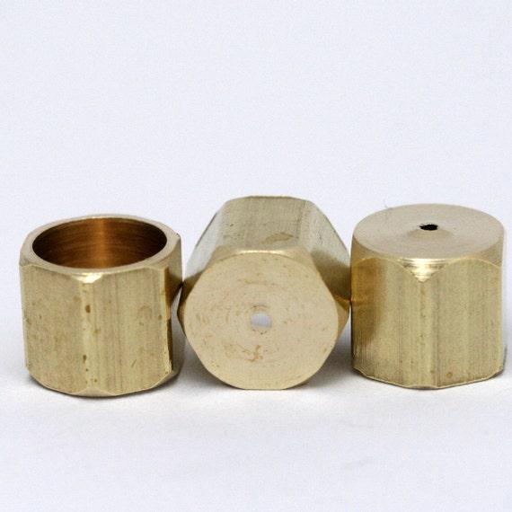 hexagon cord  tip ends, 20 pcs 10 x 9 mm 9 mm inner raw brass raw brass ribbon end, raw brass ends cap, findings ENC9