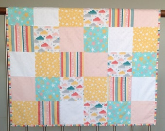 Cot Quilt - Colourful clouds and stars in pink, white and pale yellow