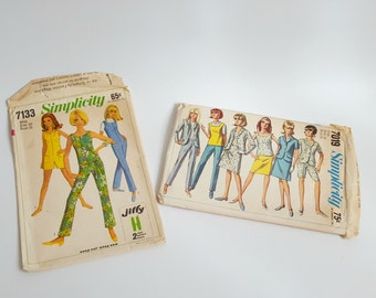 Vintage 1960s Sewing Pattern Envelopes, Simplicity- Jiffy Jump-Suit and Misses Jacket/Skirt/Overblouse/Pants Patterns