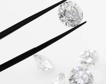 Loose Moissanite, NEO Colorless Round Diamond Cut, VVS Clarity