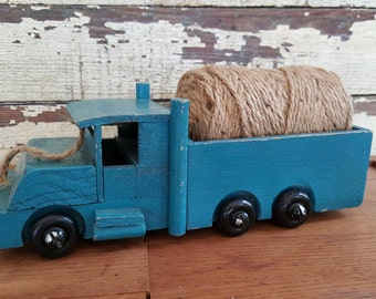 Antique Hand Made Dark Blue/Green Wooden Pick Up Truck Toy for Play Display Baby Gift