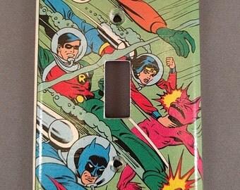 Super Friends Comic Book light switch cover