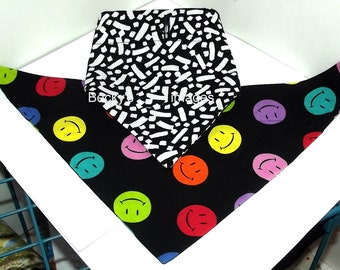 Puppy Bows~2 over the collar dog pet bandana large happy faces black white ~US Seller