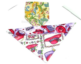 Puppy Bows~2 over the collar dog pet bandana medium red hat yellow floral~US Seller