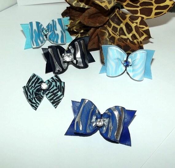 Puppy Bows ~ Set of 5 BOY zebra animal print dog grooming bow pet hair barrette