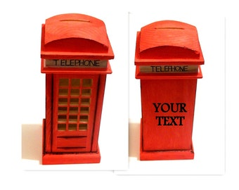 personalised Engraved Wooden Box, Red Wood Box, Telephone Box, Phone Box, Red Box, Money Box, Coin Bank, Box Money Bank