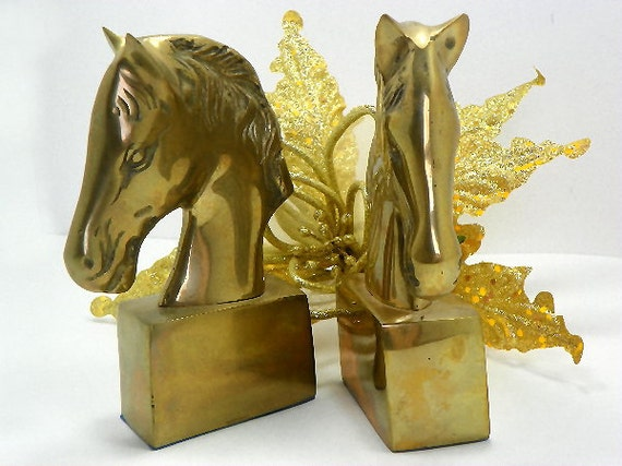 Vintage Set Brass Horse Head Bookends Unique Horse Lovers Gift