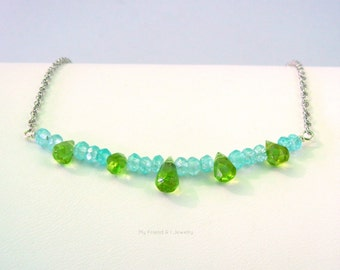 Faceted Peridot Teardrops Natural Blue Zircon Curved Bar Sterling Silver Birthstone Necklace DN393