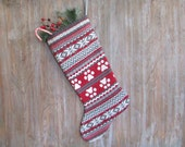 Dog Cat Christmas Stockings, knitted Paw Prints b