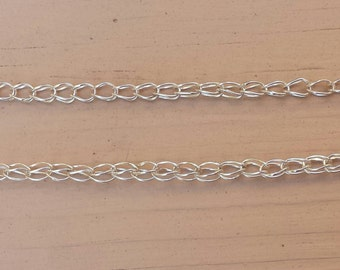 Hand made fine silver loop on loop chain