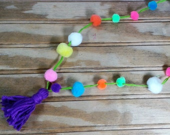 Pom Pom Necklace with Tassel For Little Girls