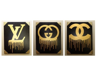 Louis Vuitton, Gucci, Chanel Painting, Drip & Studs (Made To Order 3 Canvases each 16x20) Gold and Black Art