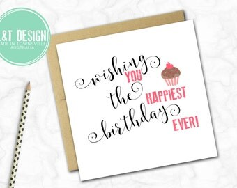 Birthday Card {CALLIGRAPHY AND CUPCAKES}
