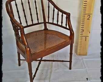 1970's Faux Bamboo Caned Barrel Chair