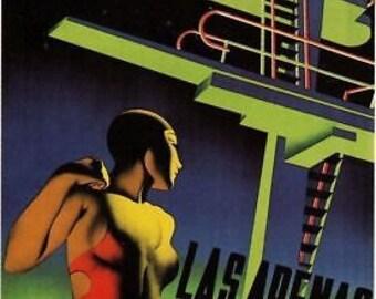 Beautiful 1930's Spanish Art Deco A3 Poster Reprint