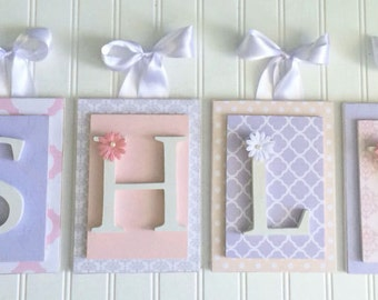 Nursery letters, Pink and Purple Nursery Letters, personalized letters,wood letters,custom nursery letters,custom wood letters, Wall Letters