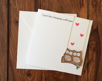 Anniversary Card, Love Card, Valentines Day Card, Owl Card, Animal Card, Greetings Cards, Thinking Of You Card, Handmade Card