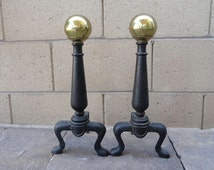 Vintage Cast Iron, Brass Cannon Ball Fireplace Andirons, Chenet, Hearth, Cast Iron Claw Foot Andiron