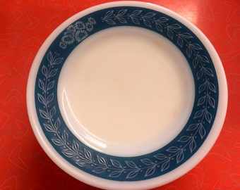 Vintage Blue Laurel Corningware Milk Glass Salad Plate 7""