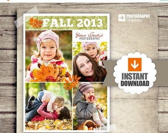 30% OFF Collage Blog Board - Fall Collage Poster - Newsletter Blog Board Collage Fall Autumn Template - PSD - INSTANT Download 5x7 Board
