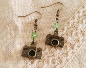 Handmade Lovely Antique Bronze Camera Earrings with Light Green Swarovski Crystal