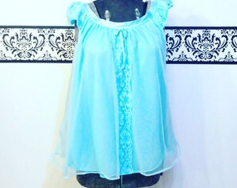1960's Sky Blue Baby Doll Chiffon Nightie ,  Size Small, Vintage 50's Negligee, Pin Up Lingerie , Mad Men Chemise, Babydoll Boudoir Teddy