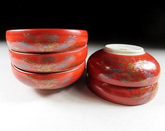 Set of Five Autumn Fall Kyo-ware Bowls, Koedo