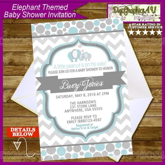 elephant themed blue and gray baby shower invitation printable digital