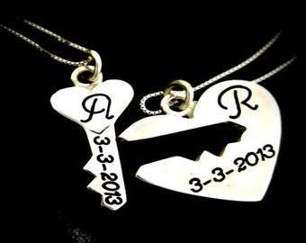 925 Silver key heart pendant
