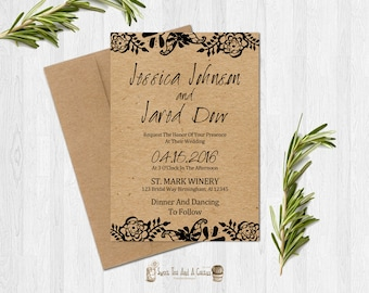 Floral Kraft Paper Wedding Invitation Printable Chic Rustic Flower Spring Summer Download Digital File Elegant