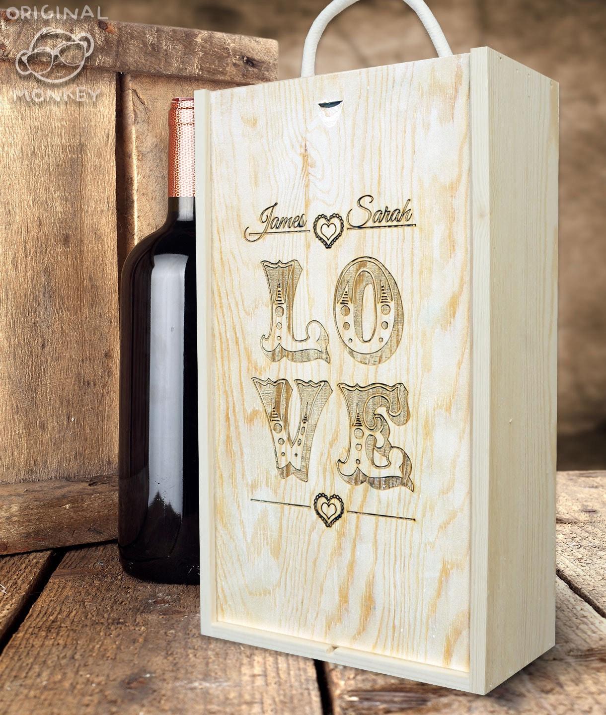 Wedding Gift Box Wine : LO VE Gift box Wedding Gift Wine Box Champagne by OriginalMonkey