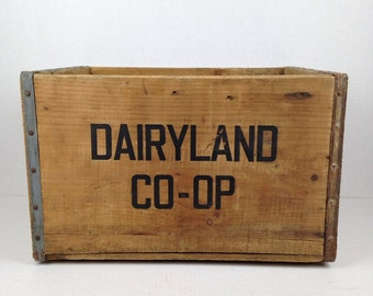 Vintage Wood Crate Dairyland Co Op Wooden Crate Old Wooden Dairy Crate Box 1950s Wood Crate Wood Box Old Rustic Wood Crate