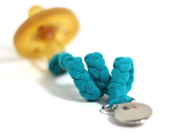 Jersey Pacifier Clip / TEAL Braided Pacifier Clip / soothie / binky clip / pacifier holder