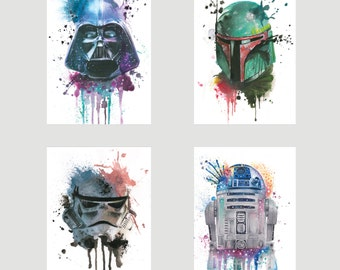 Set of 4 Star Wars Postcards watercolour prints