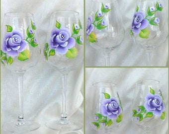 Hand painted wine glasses with purple roses,  hand painted goblet, handpainted glasses, personalised wine glass,  handpainted wine glasses