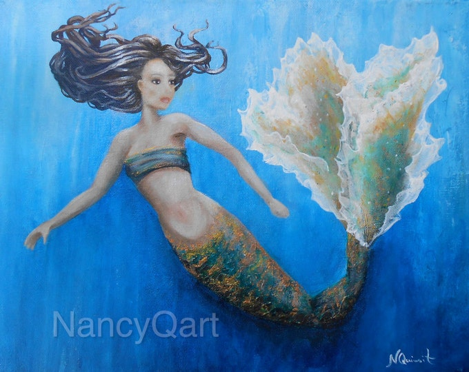 Original mermaid painting, the little mermaid wall art on canvas, mermaid gift. Original painting by Nancy Quiaoit.