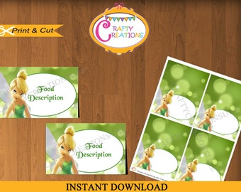Instant Download - Tinkerbell Food Tent Cards -Tinkerbell Tent Cards - Tinkerbell Birthday - Party - Decorations - EDITABLE TEXT - PRINTABLE