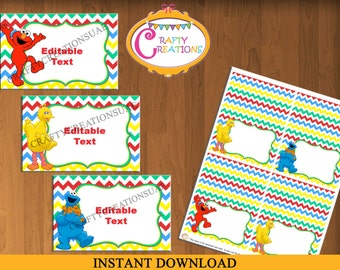 Instant Download - Sesame Street Food Tent Cards - Sesame Street Tent Cards - Sesame Street Birthday - Party - EDITABLE TEXT - PRINTABLE