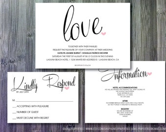 Love and Heart Wedding Invitation | RSVP | Information Suite - Digital | WD26