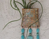 Wall Vase Pocket with Turquoise Beads