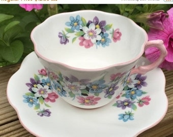 SALE Cup Saucer Rosina Anemone Pattern Bone China Cup/Saucer vintage