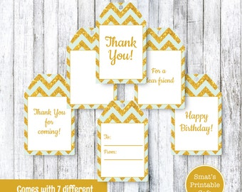 Mint & Gold Glitter Chevron PRINTABLE Gift Tags - Instant Download - Baby Showers, Teacher Gift, Favors, Thank You, Shop Tag, Birthday