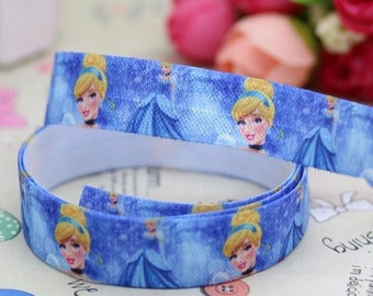 By the Yard Cinderella  5/8 inch 16mm FOE Elastic for hair ties and headbands White or Blue