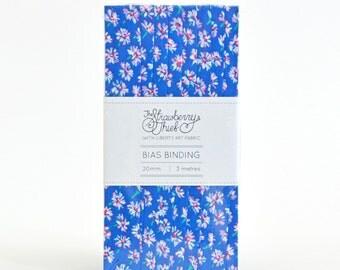 3m Liberty of London Bias Tape - Bellis C Bright Blue Floral -20mm - Liberty Art Fabric - 100% cotton Liberty Tana Lawn - 3m - 3.28 Yards
