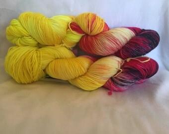 Flames of War - hand dyed yarn